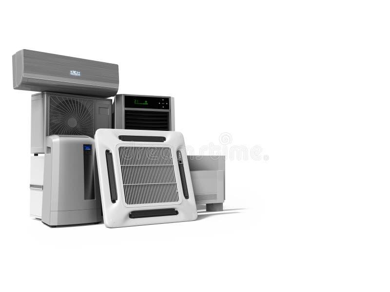 设置冷却设备墙壁空调地板空调3d回报在与阴影的白色背景 向量例证