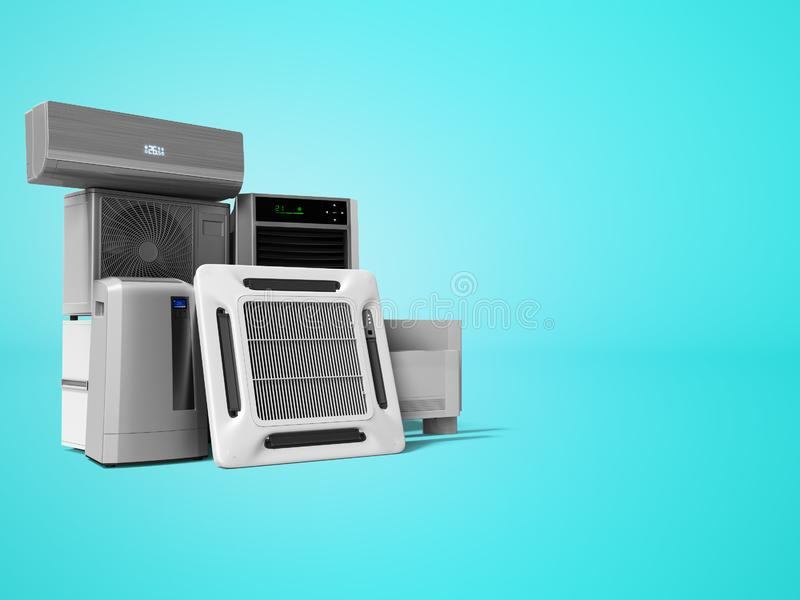 设置冷却设备墙壁空调地板空调3d回报在与阴影的蓝色背景 向量例证