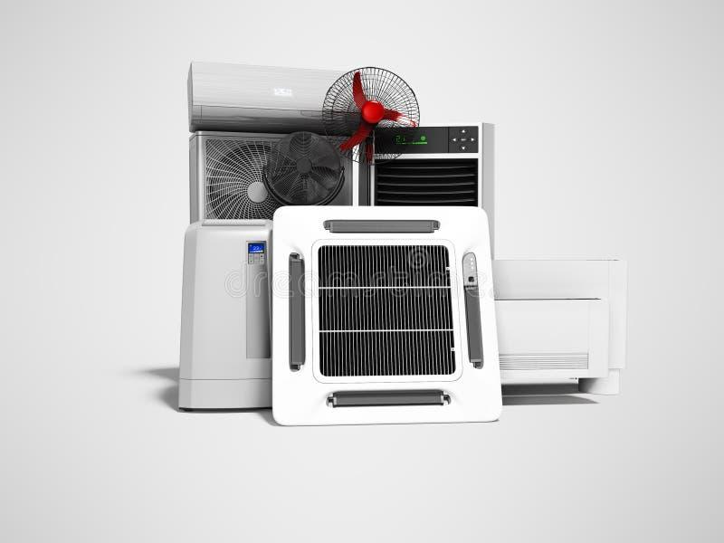 设置冷却设备空调地板爱好者地板空调3d回报在与阴影的灰色背景 库存例证