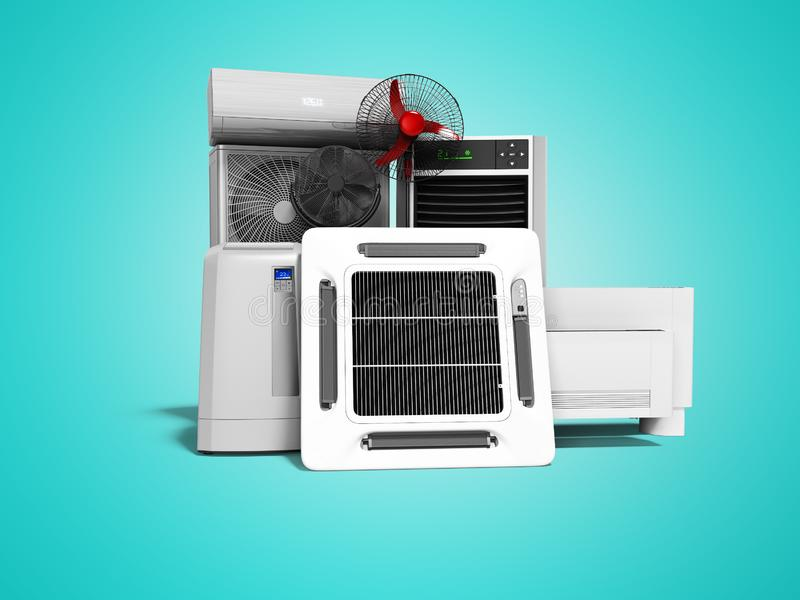 设置冷却设备空调地板爱好者地板空调3d回报在与阴影的蓝色背景 库存例证
