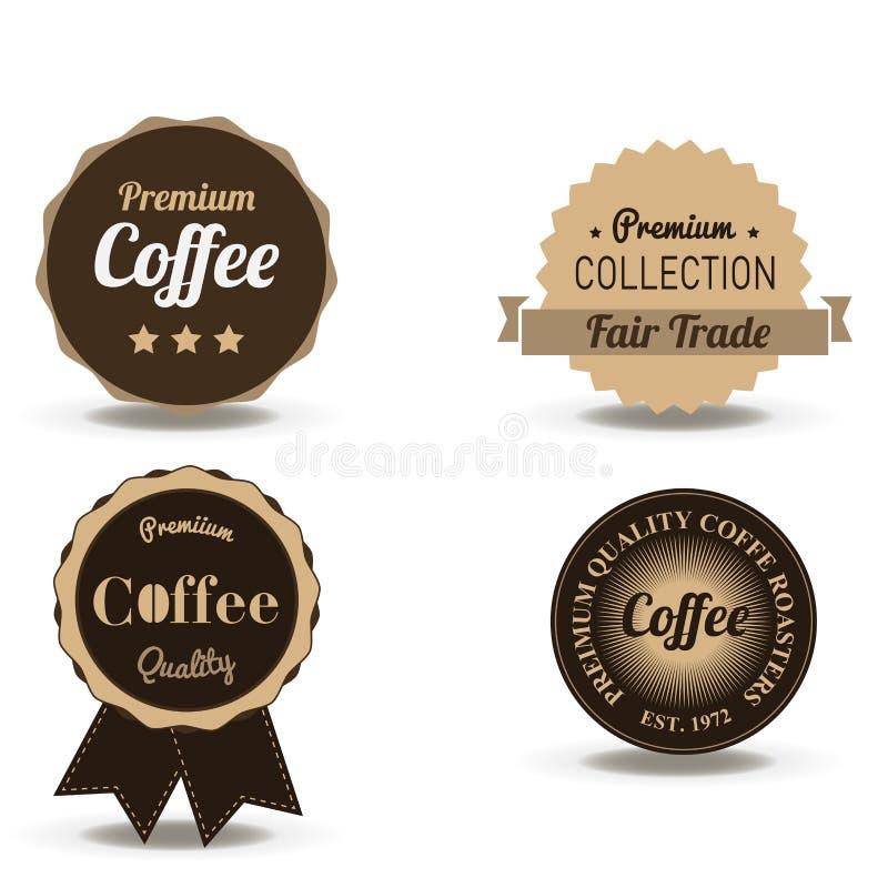 设置减速火箭的咖啡饮料证章和标签葡萄酒的传染媒介  商店商标设计在白色背景隔绝的模板 皇族释放例证