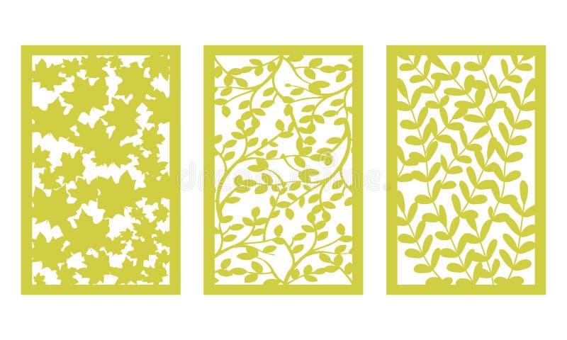 设置切开的模板 叶子样式 激光裁减 对绘图员 向量 皇族释放例证