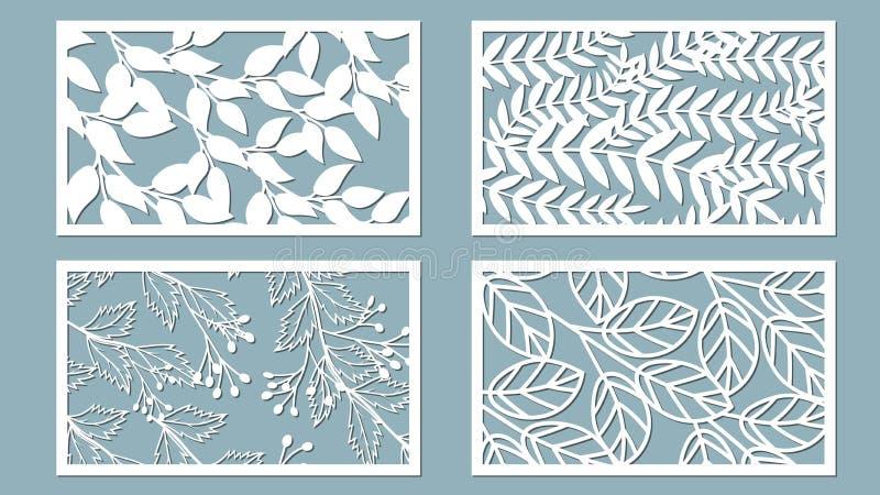 设置切开的模板 棕榈叶样式 激光裁减 也corel凹道例证向量 设置贴纸 激光裁减的样式,serigraphy 皇族释放例证