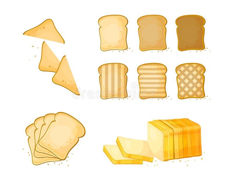 设置切片敬酒面包象 薄饼 在动画片样式的面包店产品 库存例证