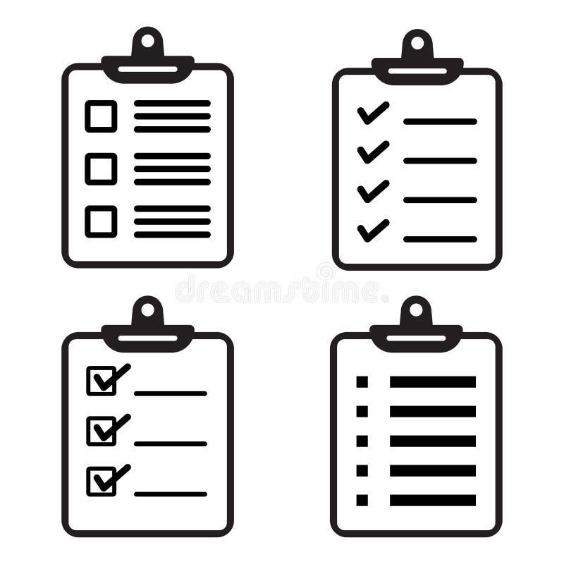 设置剪贴板或清单象 也corel凹道例证向量 库存例证