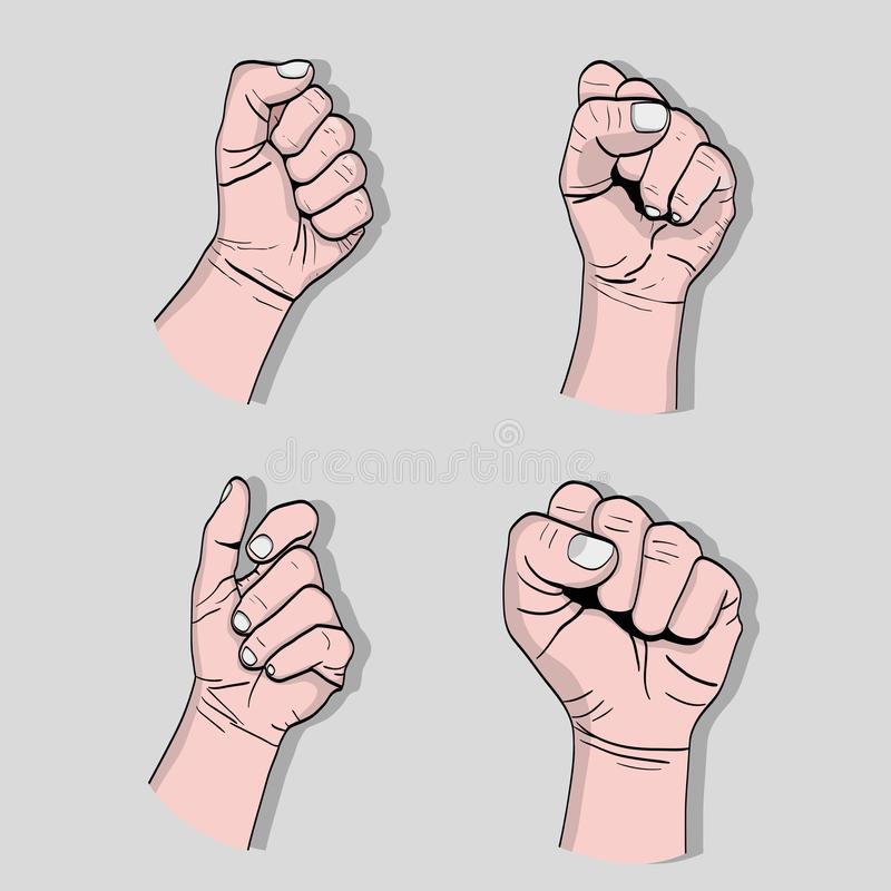 设置力量手强的抗议 向量例证