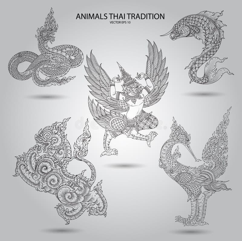 设置动物泰国传统黑白 库存例证