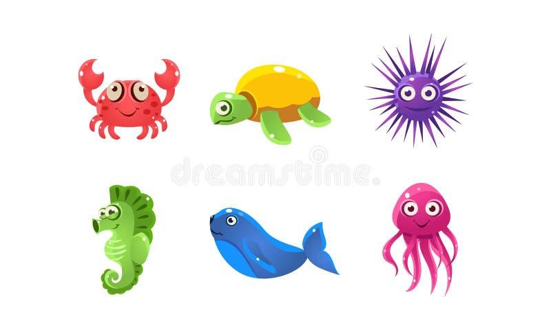 设置动画片与滑稽的面孔的海生物 动物海豚海洋章鱼鲸鱼 儿童图书流动比赛的平的传染媒介  库存例证