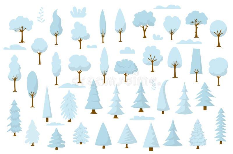设置动画片公园和森林冬天树 皇族释放例证
