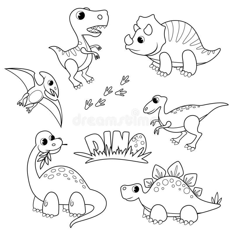 设置动画片恐龙 逗人喜爱的迪诺 彩图的黑白传染媒介例证 向量例证