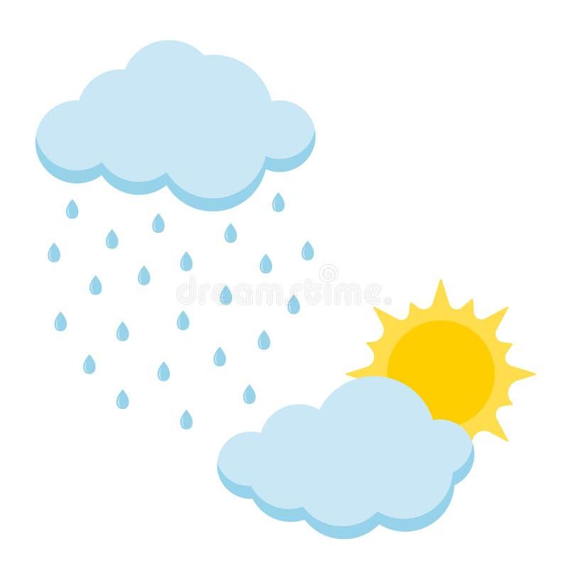 设置动画片样式象太阳和雨与在白色背景隔绝的云彩 向量例证