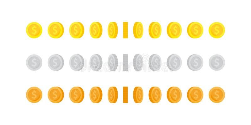 设置动画的垂直的自转金,银色和古铜色硬币 向量例证