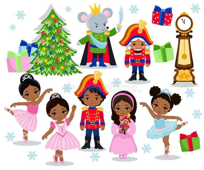 设置动画片童话胡桃钳的圣诞节字符 向量例证
