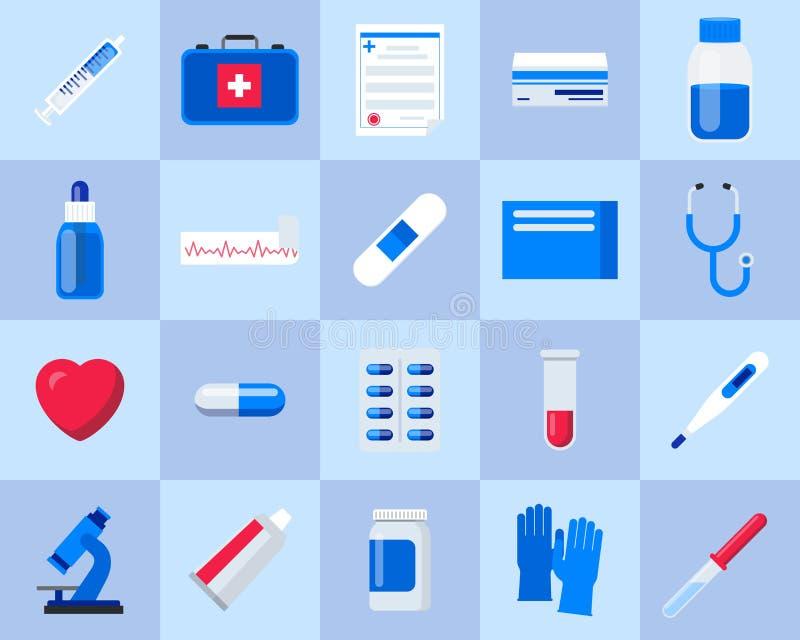 设置医疗保健和医学 医疗和配药准备和药物 医学瓶和疗程 库存例证