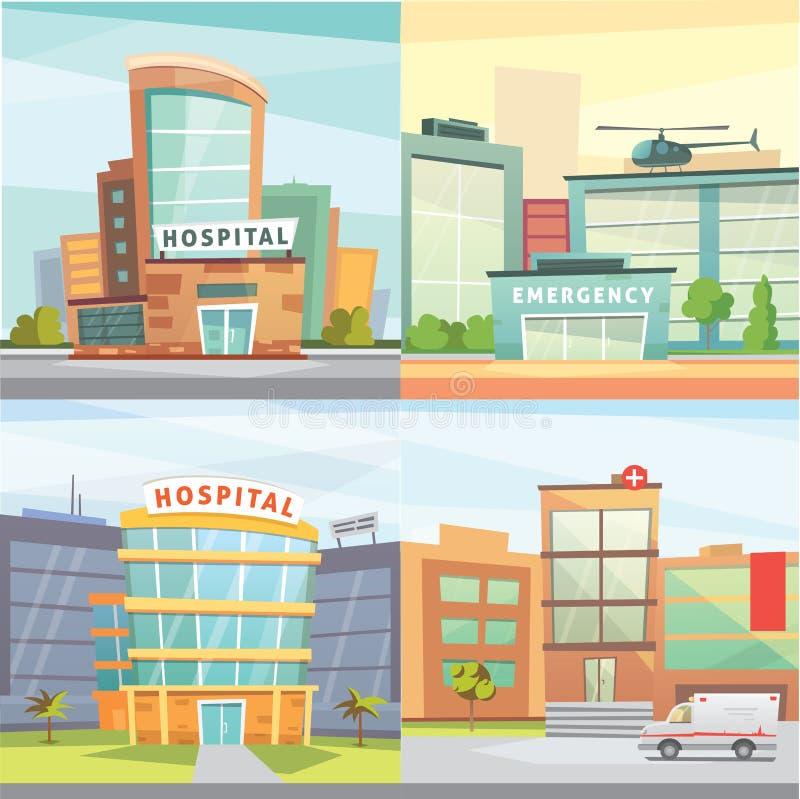 设置医院大厦动画片现代传染媒介例证 皇族释放例证