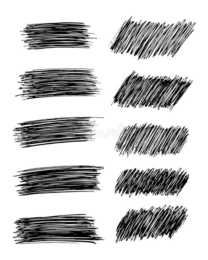 设置十个手拉的铅笔杂文污点 皇族释放例证