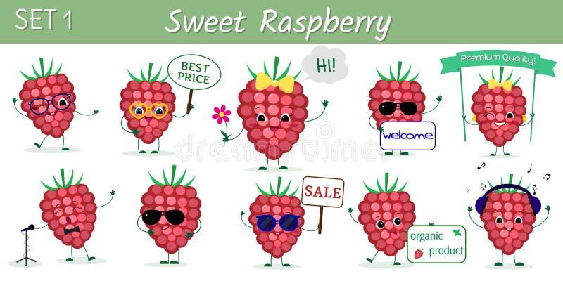 设置十个逗人喜爱的kawaii莓果莓在动画片样式的字符以各种各样的姿势和辅助部件 ?? 皇族释放例证