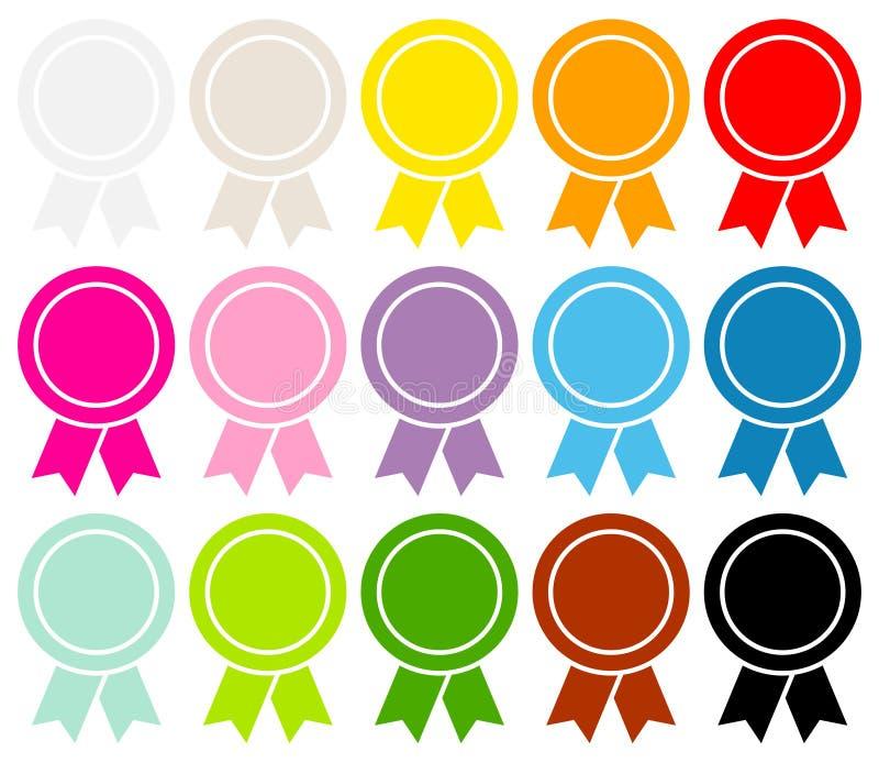 设置十五枚圆的奖徽章填装了图表颜色 库存例证
