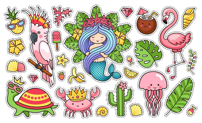 设置卡通人物 ?? 美人鱼,鹦鹉,水母,乌龟,螃蟹,鱼,火鸟 皇族释放例证