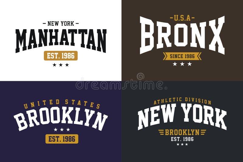 设置印刷术设计纽约T恤杉图表传染媒介 皇族释放例证