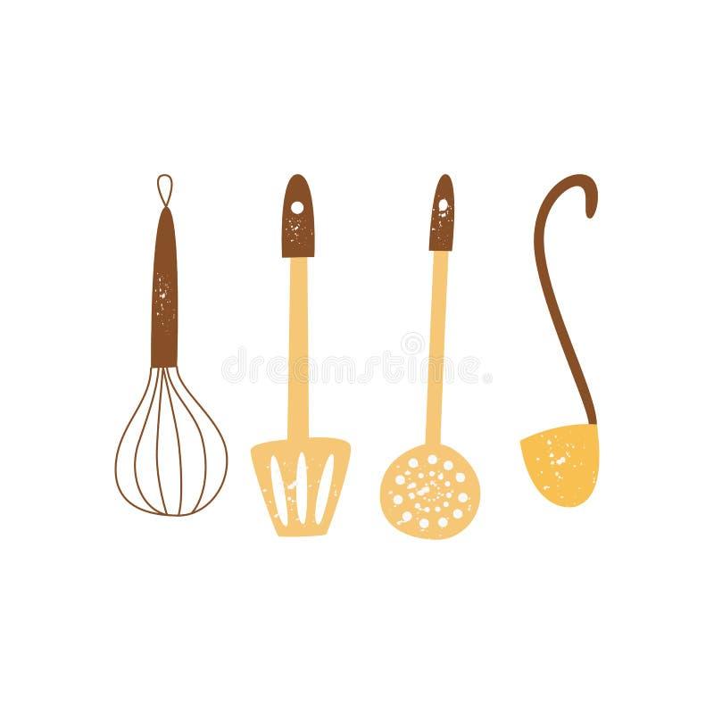 设置厨房用具或工具为烹调平的动画片样式 向量例证