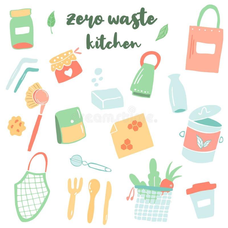 设置厨房用具 零的废生存概念 向量例证