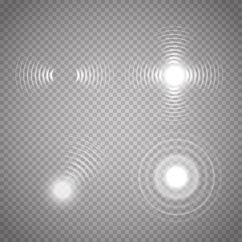 设置发光的生波探侧器波浪 也corel凹道例证向量 向量例证