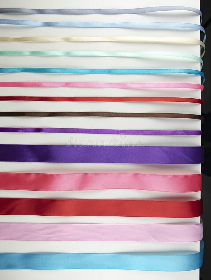 设置发光的色的丝带 库存图片