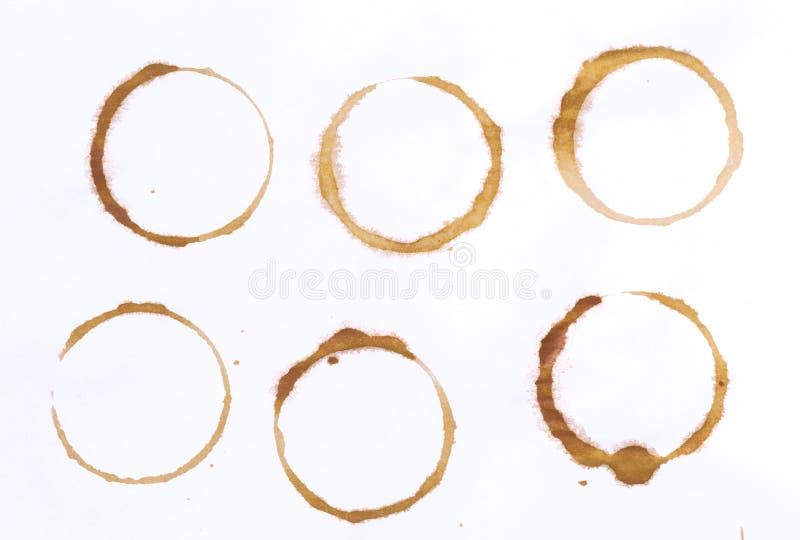 设置发球区域或咖啡杯圆环在白色背景 免版税库存照片