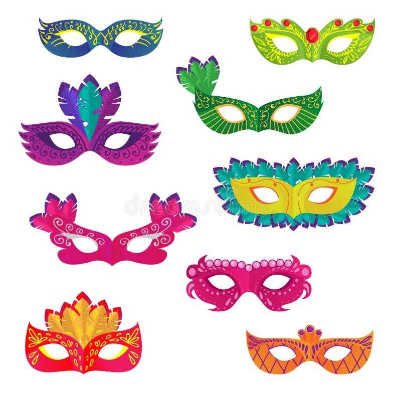 设置另外五颜六色的狂欢节或假日装饰面具 向量例证