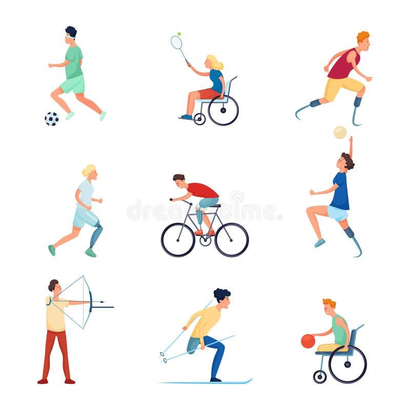 设置另外人字符在paralympic体育比赛 库存例证