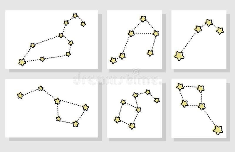 设置另外动画片星座 向量例证