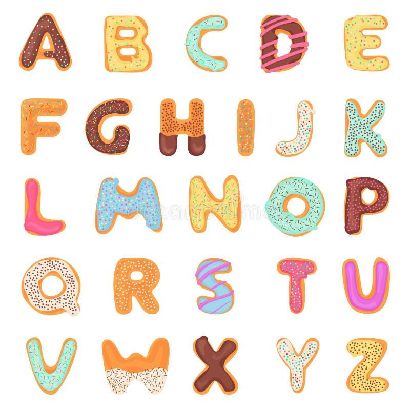 设置可口,甜,象油炸圈饼,给上釉,巧克力,在白色隔绝的美味,鲜美,形状的字母表字体信件 皇族释放例证