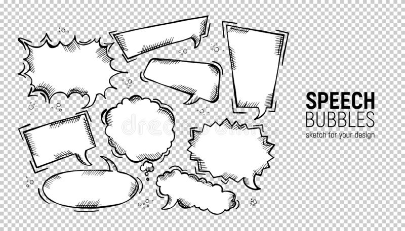 设置可笑的讲话泡影 传染媒介例证和图表元素 手拉的不同的形状 在长方形的讲话泡影, 皇族释放例证