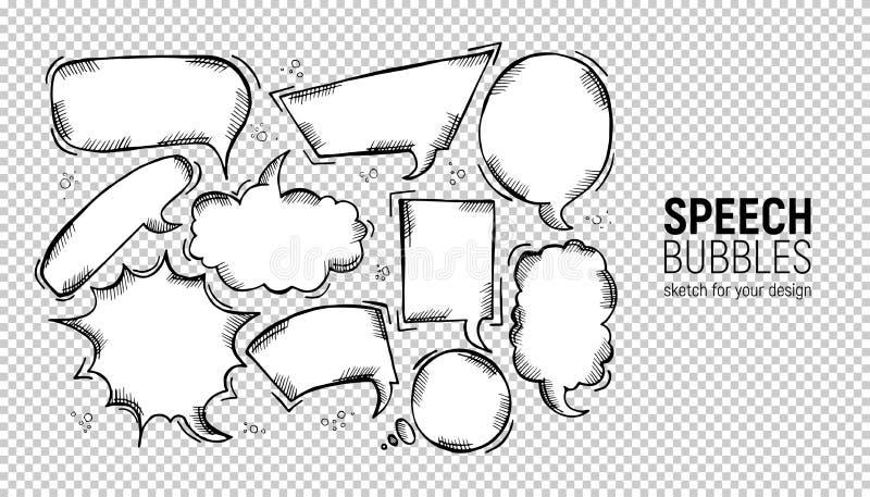 设置可笑的讲话泡影 传染媒介例证和图表元素 手拉的不同的形状 在长方形的讲话泡影, 库存例证