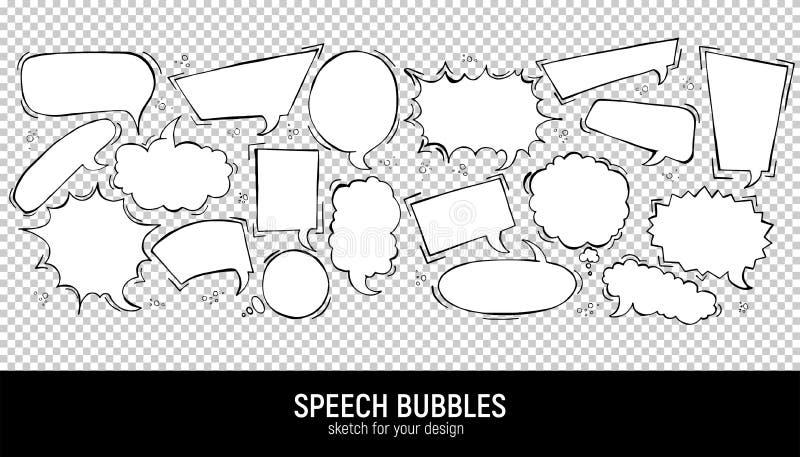 设置可笑的讲话泡影 传染媒介例证和图表元素 手拉的不同的形状 在长方形的讲话泡影, 向量例证