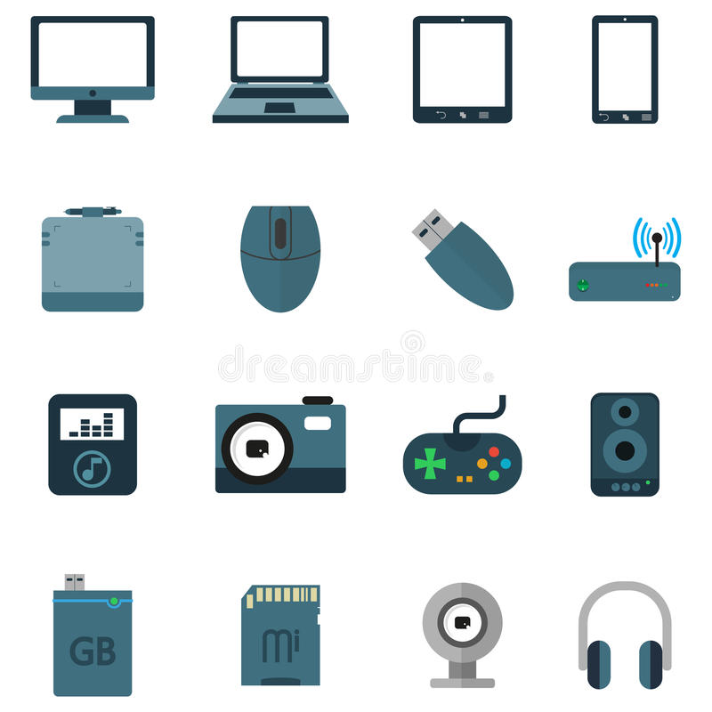 设置各种各样的电子设备象  皇族释放例证