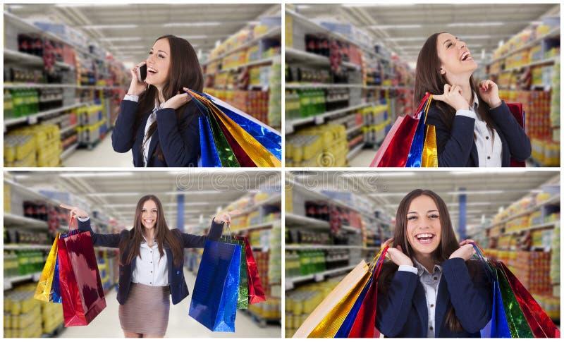 设置和女孩的汇集有购物带来的 免版税库存照片