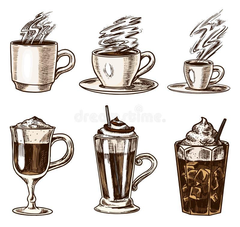 设置咖啡在葡萄酒样式的 拿走热奶咖啡和糖渍,浓咖啡和拿铁、上等咖啡和阿梅里卡诺,frappe 向量例证