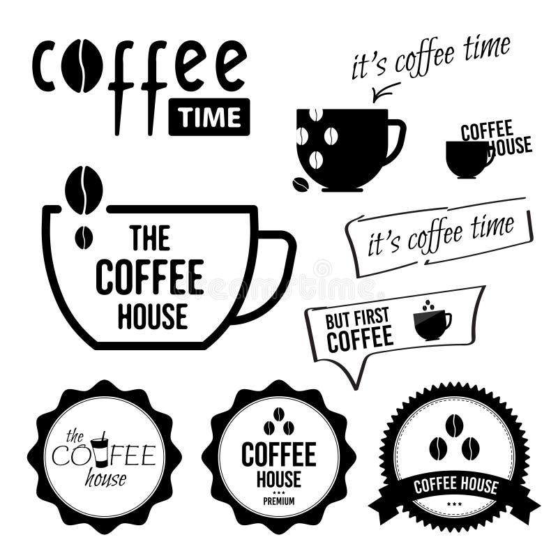 设置咖啡标签和徽章 传染媒介黑白例证 皇族释放例证