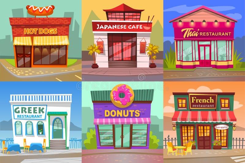 设置咖啡馆和餐馆,从街道的看法 库存例证
