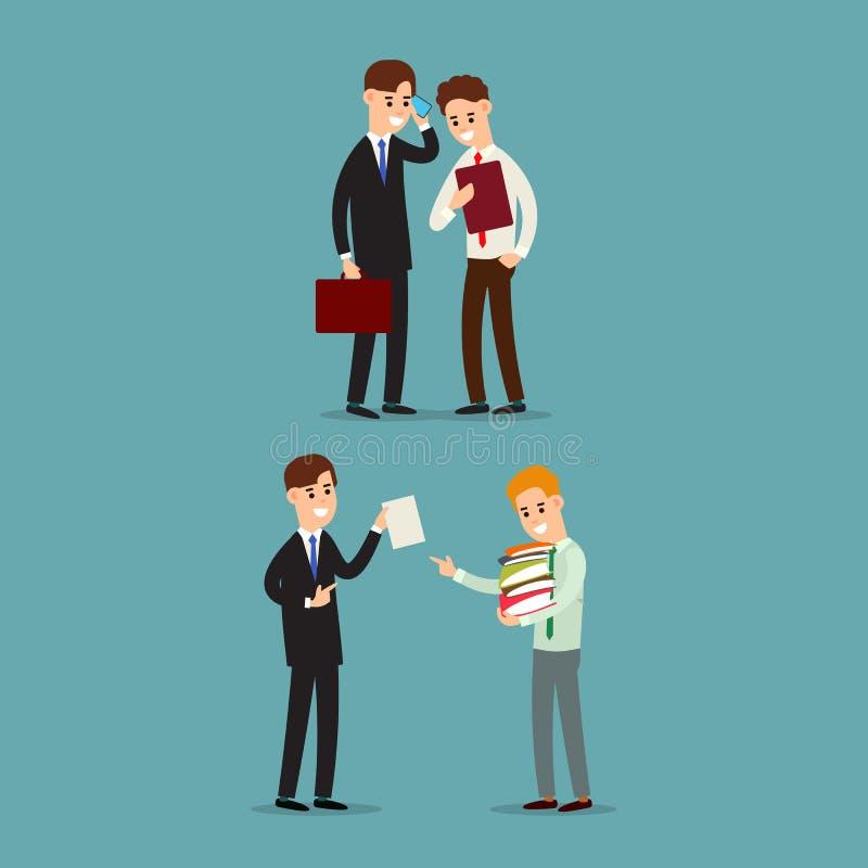 设置商人通信 两工作在办公室的商人 读文件的经理 由电话的雇员答复 人 库存例证