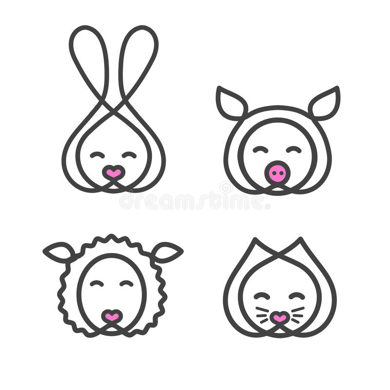 设置商标与动物头的设计模板 标志宠物店的逗人喜爱的兔子、猫、绵羊和猪口鼻部 在线性的标志 皇族释放例证
