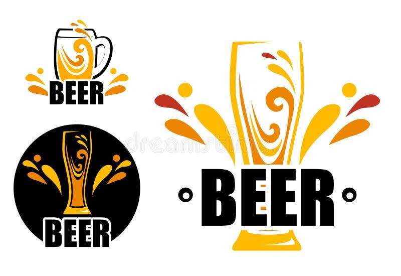 设置商标啤酒商店 向量例证