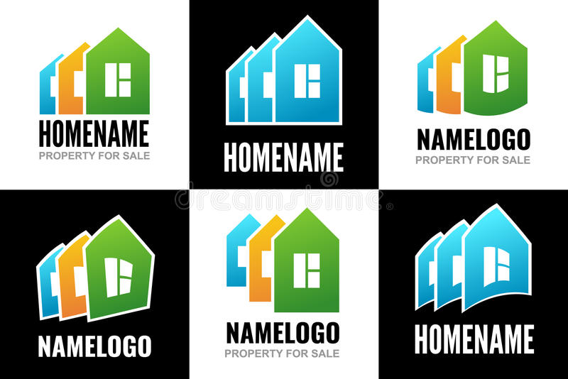 设置商标房子 向量例证