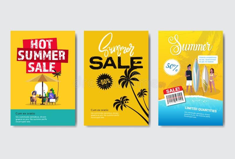 设置商标模板邀请贺卡的夏天销售热带棕榈海浪假期设计标签季节购物 库存例证