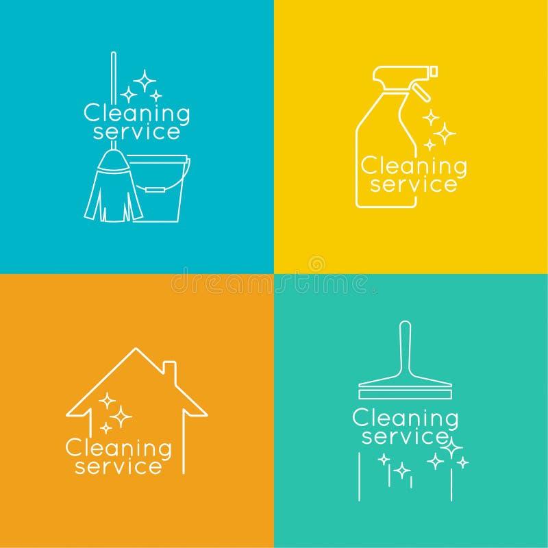 设置商标清洁服务 皇族释放例证