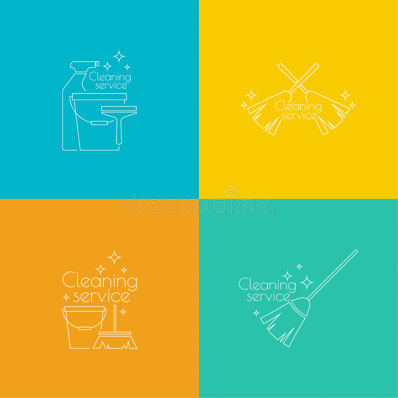 设置商标清洁服务 向量例证