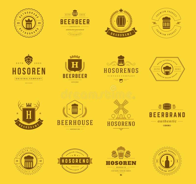 设置啤酒商标,徽章并且标记葡萄酒样式 库存例证