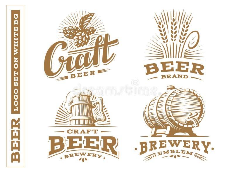 设置啤酒商标-导航例证,设计象征啤酒厂 向量例证
